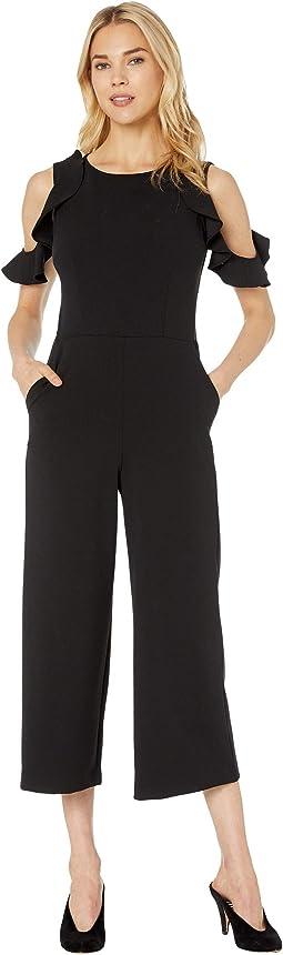 Cropped Crepe Jumpsuit w/ Cold Shoulder
