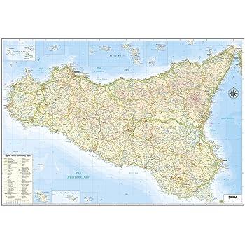 Immagini Cartina Fisica Sicilia.Carta Geografica Murale Sicilia 100x140 Bifacciale Fisica E Politica Amazon It Cancelleria E Prodotti Per Ufficio