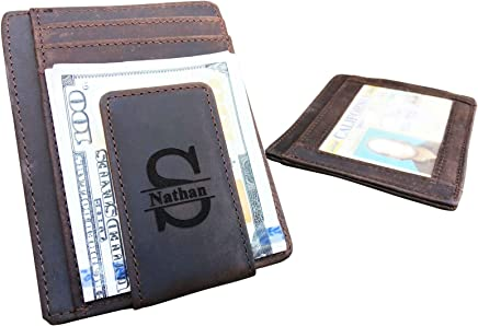 0f43505c7b2 Personalized Leather Magnetic Money Clip for Men, Monogrammed Rustic ID Card  Wallet, Custom Slim