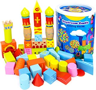 52-piece Daydream Castle Premium Wood Building Blocks with Fun Patterns and Unique Shapes by Imagination Generation