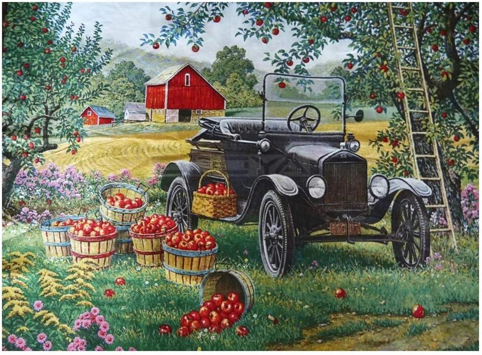 5D Pintura diamante por Kit, Tractor agrícola de huerto de manzanas Diamond Painting taladro completo de diamantes de imitación bordado de punto de cruz decoración de del hogar 80x120cm Y627