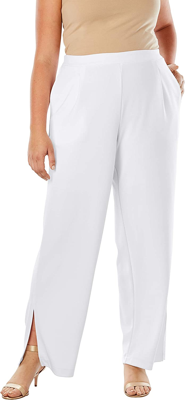 Jessica London 高い素材 Women's Plus 在庫一掃 Size Pant Knit Crepe Side-Slit