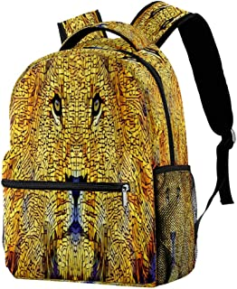 Lion Mane Cat Abstract Predator Backpack School Backpack Book Bag Casual Daypack for Travel