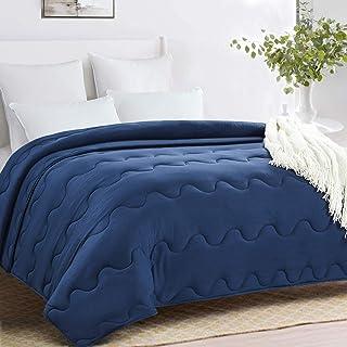 HOMBYS Lightweight Queen Down Alternative Comforter Queen Size - Soft Hypoallergenic Corner Tabs Blue Duvet Insert- Machine Washable Plush Microfiber Quilted-Warmth Bed Comforter(Full/Queen,Navy Blue)