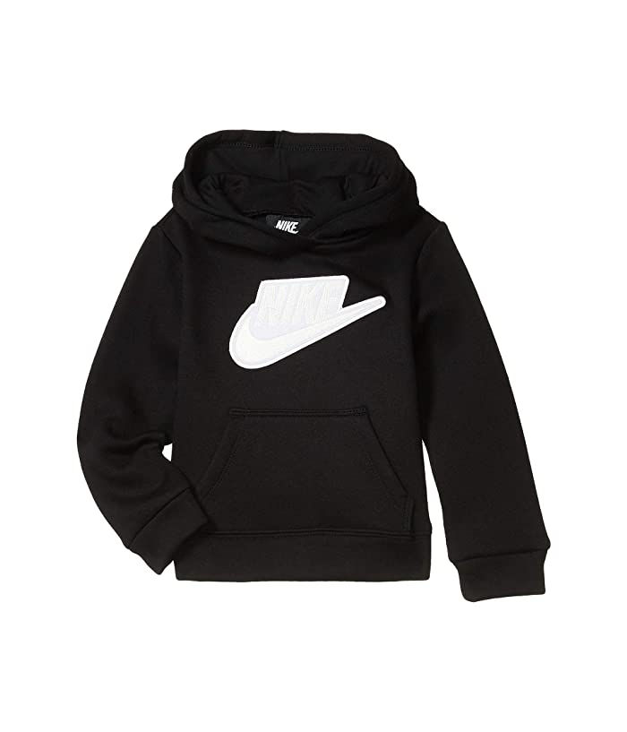 Nike Kids  Sueded Fleece Iridescent Logo Pullover Hoodie (Toddler) (Black) Girls Clothing