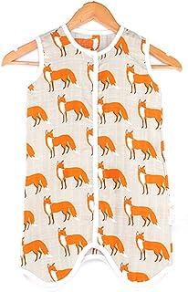 Chilsuessy Chilsuessy Baby Sommer Schlafsack Kleine Kinder Ärmellos Schlafanzug 0.5 Tog Kind Strampler mit Füßen für Jungen und Mädchen, Fox, XL/Koerpergroesse 85-95cm