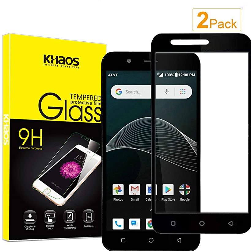 for AT&T AXIA QS5509A Screen Protector,KHAOS [2 Pack] Full Screen Coverage Tempered Glass Screen Protector for Cricket Wireless Vision HD-Clear Anti-Bubble Ant-Scratch -Black