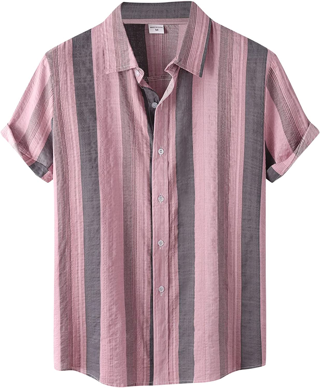 Manufacturer direct delivery Men's Cotton Selling and selling Linen Shirts Short Sleeve Floral Summer Button Down