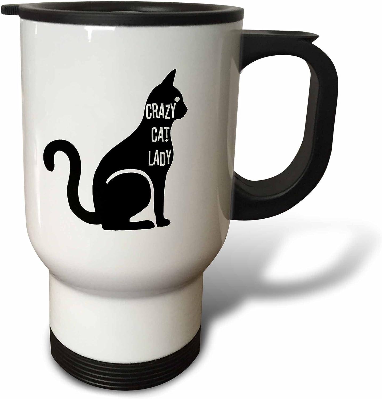 3dRose Crazy Cat Lady-Travel Mug, 14 oz, Stainless Steel, White
