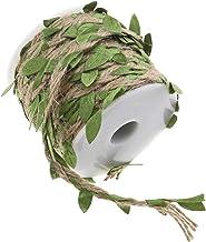 OTOTEC Jute touw met bladeren, 20m natuurlijke jute blad lint met kunstblad wijnstok hennepkoord met spoel voor DIY ambach...