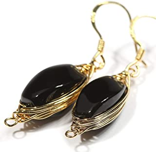 Natural Stone Wire Wrap Dangle Drop Earrings Gold Plated 925 Sterling Silver Hook/Black Onyx