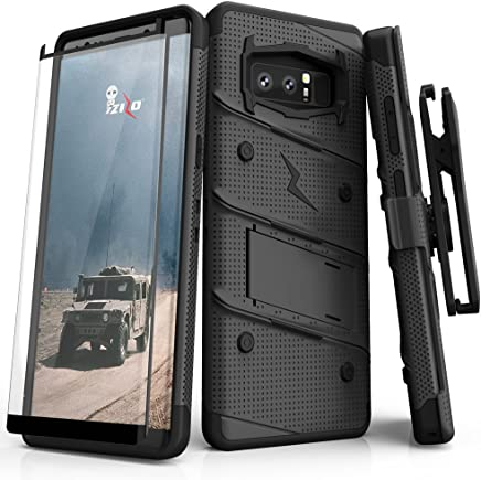 Zizo Bolt Series Compatible with Samsung Galaxy Note 8 Case Military Grade Drop Tested with Tempered Glass Screen Protector Holster Black