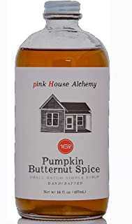 Pink House Alchemy Butternut Pumpkin - Spice Simple Syrup 16 oz Cocktail Drink Mix - Use to Flavor Coffee - Hawaiian Shaved Ice - Dessert Topping - Using Only Fresh Pumpkin(P16)