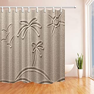 SZZWY Sand Painting Decor Coconut Trees and Sun Silhouettes on Beach Resistant Polyester Fabric Shower Curtains for Bathroom Shower Curtain Hooks Included 69X70 in