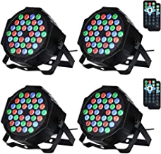 LUNSY 36LED Stage Lights, RGB DJ Par Can Party Lighting, Uplighting Indoor for Wedding, Remote and DMX Control, Sound Activated- 4 Pack