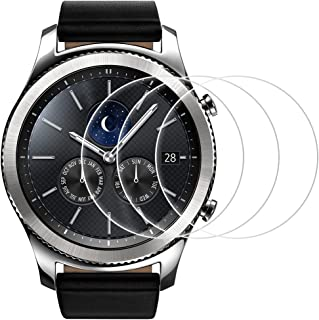 AFUNTA Screen Protector Compatible Samsung Gear S3, Frontier and Classic, 3 Pack Tempered Glass Film Anti-Scratch High Definition Cover Compatible Smartwatch