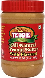 Teddie Smooth All Natural Peanut Butter with Flaxseed, 16 Ounce