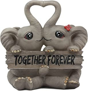 Ebros Together Forever Kissing Elephant Couple Statue 6.25
