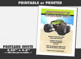 Monster Truck Birthday Party Invitation, Printable or Printed Option