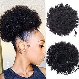 Dula a Afro Kinky Curly Puff Human Hair Ponytail Extension For Black Women Drawstring Curly African American Human Hair With Double Clips String In Hair 8 Inch