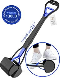 TIMINGILA 28  Long Handle Pet Pooper Scooper for Dogs and Cats with High Strength Material and Durable Spring Easy to Use for Grass, Dirt, Gravel Pick Up (Navy)