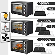 Jago® Mini Four - Capacité 30/48/60 L, 1600/2000 W, avec/sans Rôtissoire, Minuteur 0-60 min, 100-230°C, avec Grille et Pla...