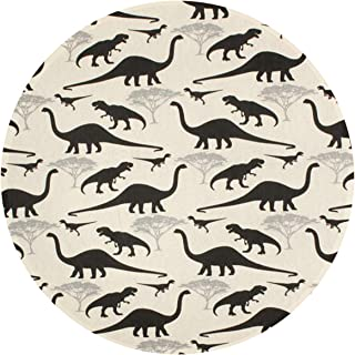 Dinosaur Animal Round Rug Non-Slip Machine Washable Round Bath Mat Living Room Bedroom Bathroom Kitchen Soft Floor Mat Home Decor 16 Inch