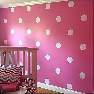 6x6 Set of 24 Polka Dot Circles vinyl lettering decal home decor wall art saying (White)
