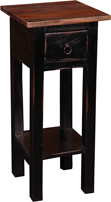 Sunset Trading CC TAB1792TLD ABRW Shabby Chic Cottage Side Table Small One Drawer Black Brown
