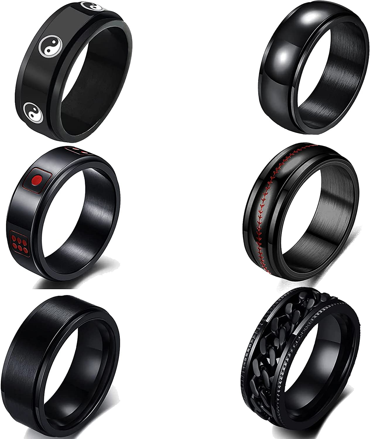 JEWPARK 6 PCS Black Fidget Spinner Band Rings for Men Women Cool Stainless Steel Spinning Ring Mens Tai Chi Ring Center Chain Ring Dice Spins Ring Release Anxiety Band Ring Set