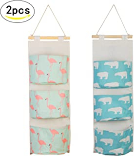 LANMOK Pcs Hanging Storage Bags Case Cotton Closet Organizer Over The Door Wall Baskets with Pockets for Kitchen Bedroom Bathroom Bathroom Office