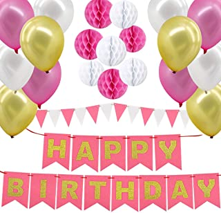 Happy Birthday Decorations Supplies, Gyvazla Happy Birthday Banner and 8pcs Pink and White Paper Honeycomb Balls, 12 Trian...