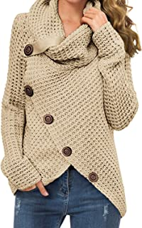 GRECERELLE Women's Casual Turtle Cowl Neck Asymmetric Hem...