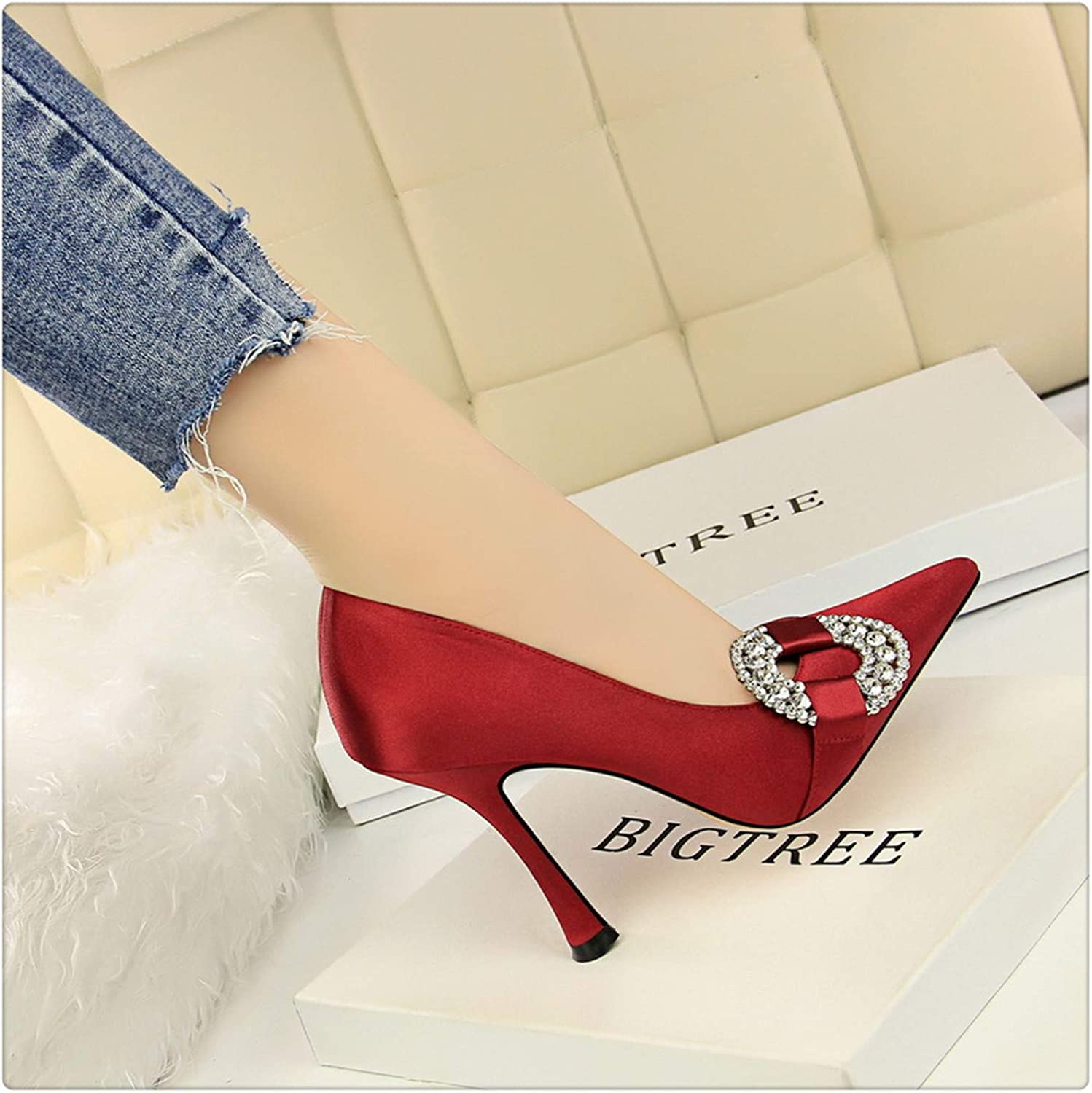 Yyixianma Sexy Fashion Rhinestone Party Wedding shoes New 2018 Spring Women Pumps High Heel shoes Silk Shallow Pointed Toe Pumps Thin Heel Wine Red 4
