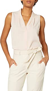 Calvin Klein Women's Sleeveless Blouse with Inverted Pleat (Standard and Plus)