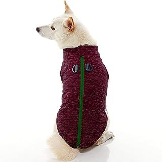 Gooby - Zip Up Fleece Vest, Fleece Jacket Sweater with Zipper Closure and Leash Ring, Fuchsia Wash, Small