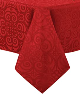 Newbridge Ironworks Scroll Damask Holiday, Thanksgiving and Christmas Fabric Tablecloth, Contemporary Damask Soil Resistant, No Iron Tablecloth Print, 60 Inch x 84 Inch Oval, Brick Red