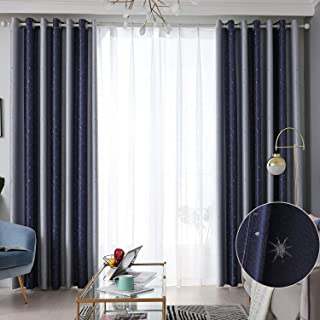 Hughapy Blackout Curtain Embroideried Star Design...