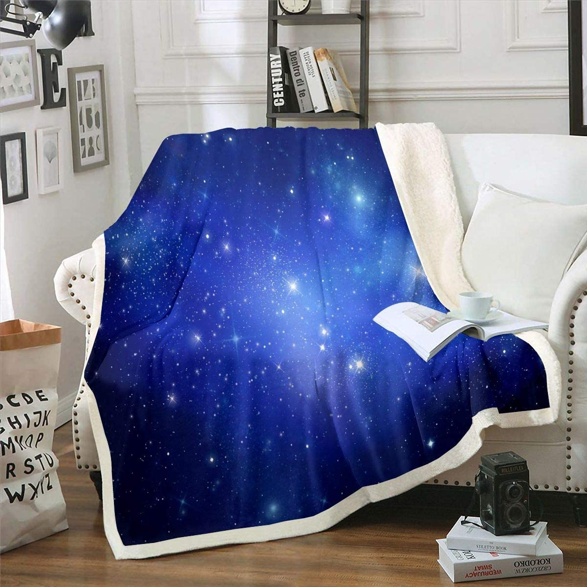 Galaxy Max 43% OFF Plush Blanket Outer Space Kids Sherpa Girls Indefinitely Boys