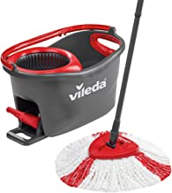 Vileda Easy Wring and Clean Turbo Microfibre Mop and Bucket Set, 48.5 X 27.5 X 28 Cm, Grey/Red