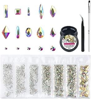 Crystal AB Round & Multi-Shape Glass Nail Rhinestone Set(1728+60pcs), Flatback Gems Stones For Nails Decorations (1728+60 pcs Rhinestones with Glue)