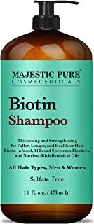 Majestic Pure Biotin Hair Shampoo - Hair Loss Shampoo for Thicker Hair - Infused with Vitamins, Nourishing and Volumizing, DHT Blockers, for Men & Women - 470ml