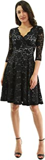 PattyBoutik Women 3/4 Sleeve Lace Overlay Fit and Flare Dress