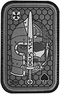 Deus Vult Morale Patch Embroidered Crusader and USMC Helmets for Tactical Operator Cap with Hook Fasteners