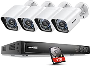 ANNKE 1080P HD True POE Security Camera System, 4CH 6MP NVR Recorder with 1TB Hard Drive and (4) 2MP (1080x1920) Surveillance IP Cameras, IP66 Weatherproof, 100ft Night Vision, Motion Detection