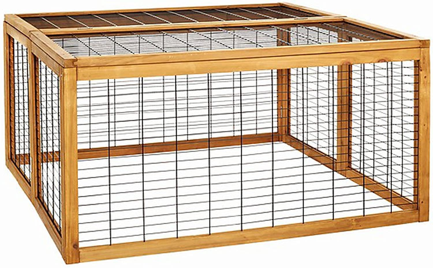 Dehner Rolf Open Enclosure with FoldOut Roof Approx. 116 x 116 x 58 cm Wooden