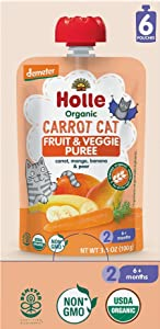 Holle Organic Baby Food - Carrot Cat - Non GMO - Carrot, Mango, Banana & pear - Box of 6 Pouches