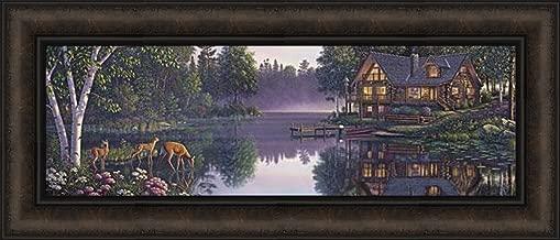 Sweet Serenity by Kim Norlien 12x28 Log Cabin Home Deer Fawns Doe Lake Framed Art Print Picture