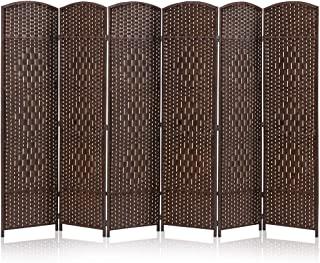 JOSTYLE Room Divider 6ft. Tall Extra Wide Extra Wide Privacy Screen, Folding Privacy Screens with Diamond Double-Weave Room dividers and Freestanding Room Dividers Privacy Screens(Brown, 6-Panel)