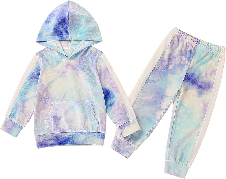 Toddler Baby Girl Boy Hoodie Sweatshirt Tie Dye Leopard Long Sleeve 2PCS Outfit Set